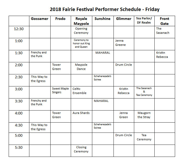 2018 may day fairie festival performers schedule