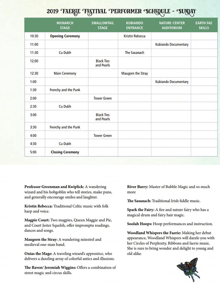 Sunday Schedule 2019